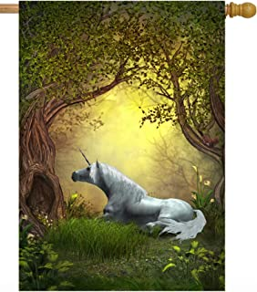 """ShineSnow Unicorn Horse Golden Forest Flowers Tree Mystic Fairy Tales House Flag 28"""" x 40"""" Double Sided Polyester Welcome Yard Garden Flag Banners for Patio Lawn Home Outdoor Decor"""