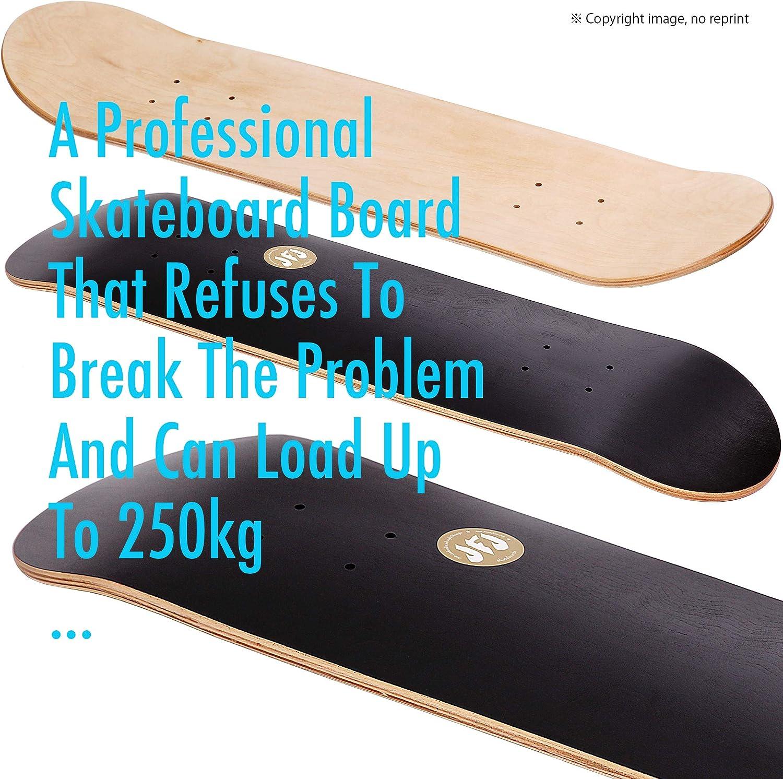 JFJ Black Maple Skateboard Decks Double Tail Skateboard Light Decks Free Skateboard Grip Tape