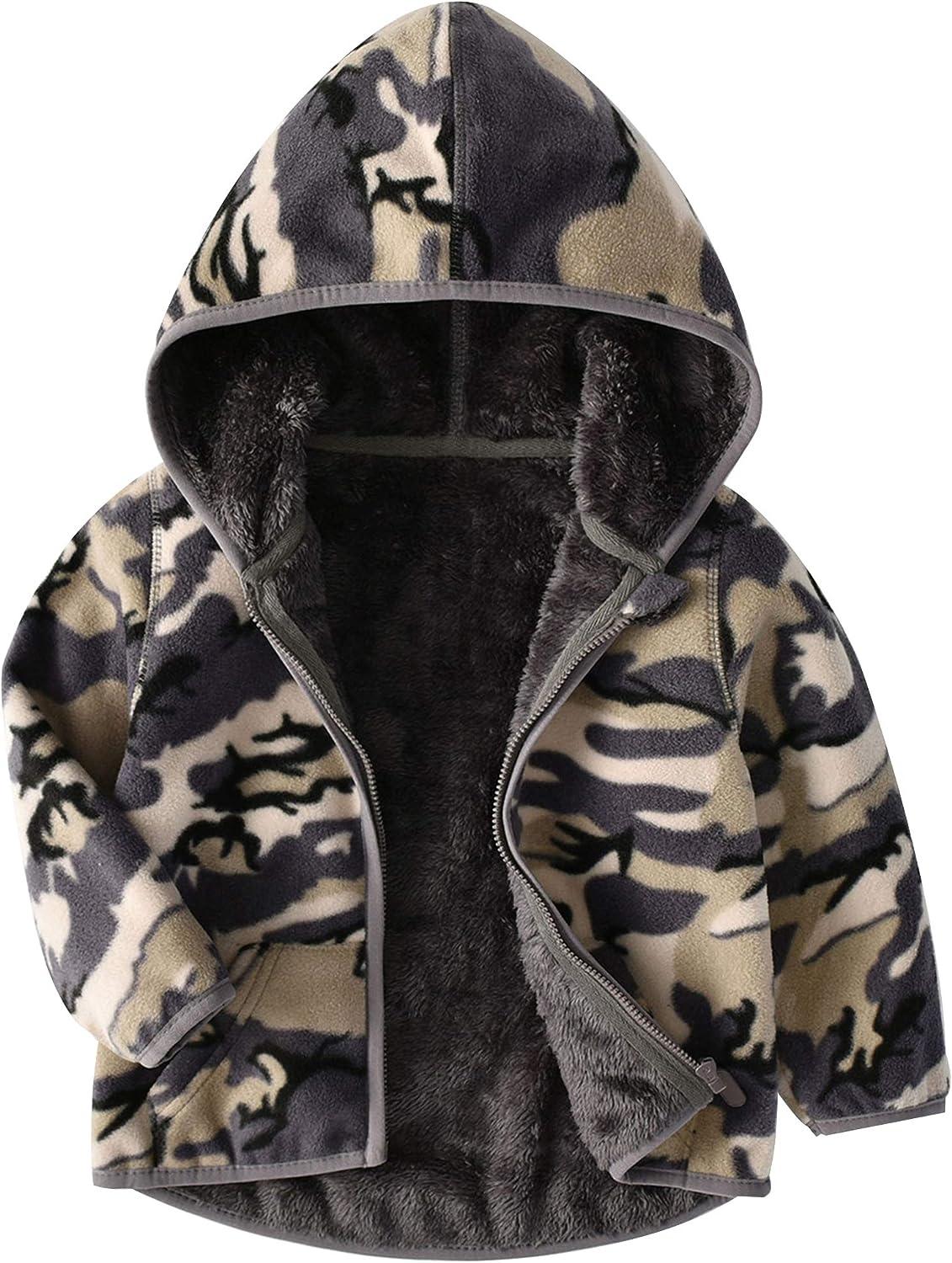 Hiheart Girls Polar Fleece Lined Sherpa Jacket with Hood