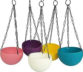 A2M Round Rattan Plastic Flower Hanging Planter with Hook Chain for Home Gardener/Beautiful Round Gamla Pot/Garden Balcony...