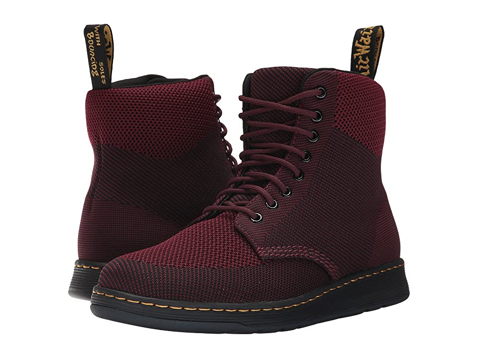 Dr. Martens Knit Rigal Boot (Oxblood/Black Knit Textile) Boots