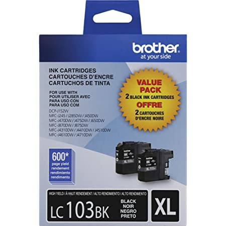 Brother Genuine High Yield Black Ink Cartridges, LC1032PKS, Replacement Black Ink, Includes 2 Cartridges of Black Ink, Page Yield Up To 600 Pages/Cartridge, LC1032PKS