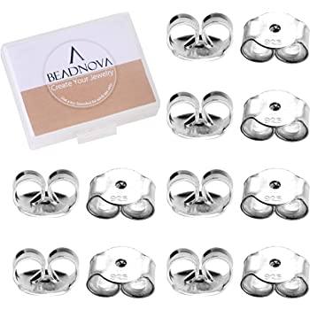 S925 Sterling Silver Screw Back Earring Backs One Pair Small Ear Nuts Replacement 1.0mm Hole