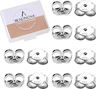 BEADNOVA 925 Sterling Silver Earring Backs Replacements Earring Backings Pierced Earring Back for Posts Secure Locking Earring Backs for Studs Butterfly Earring Nut Stopper(12 Pieces)