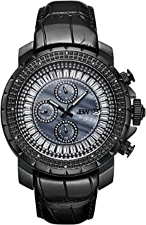 JBW Luxury Men's Titus 12 Diamonds & Baguette Cut Swarovski Crystals Leather Watch