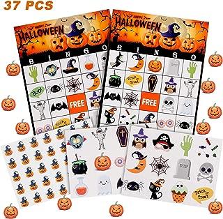37 Sheets Halloween Bingo Cards for Kids Halloween Party Games Classroom Activities, 24 Players
