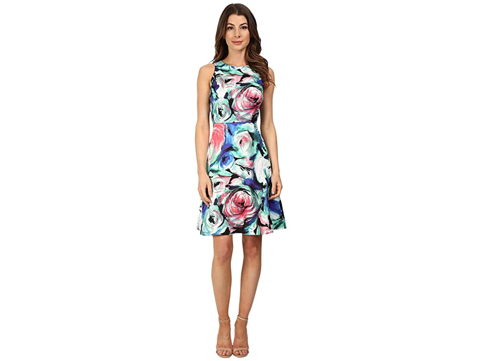 Donna Morgan Sleeveless Printed Twill Fit and Flare (Blue Multi) Women