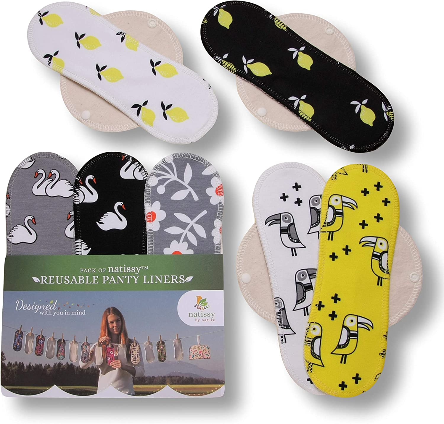 Reusable Panty Liners for Women; online shopping M Medium Cotto Ranking TOP10 Organic 7-Pack