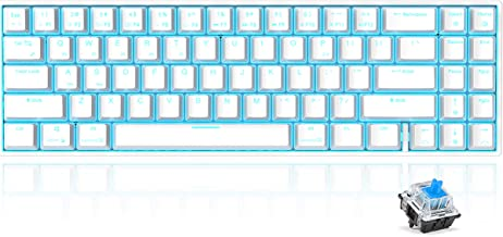 RK71 Mechanical Keyboard 71 Keys 70% LED Backlit Compact Gaming Keyboard, Tenkeyless Wired/Wireless Bluetooth Portable Gam...