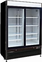 Chef's Exclusive CE328 Commercial 2 Double Sliding Glass Door Refrigerated Merchandiser Cooler Showcase LED Lights 48 Cubic Feet 8 Adjustable Shelves Digital Controller Locks, 54 Inch Wide, Black