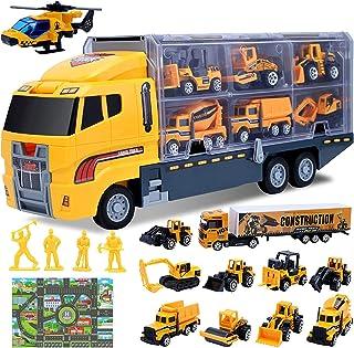 Swonuk 16 en 1 Jouets de Voiture de Camion d'ingénierie Véhicules Moulés pour Enfant Voitures de Construction avec Carte