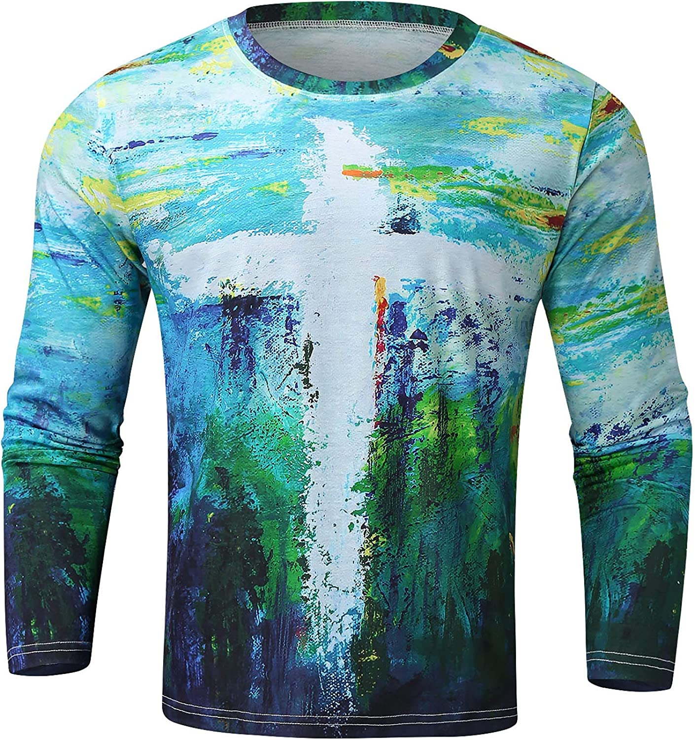 Aayomet Men's T Shirts Vintage Graphic Long Sleeve Slim Fit T-Shirt Casual Round Neck Sport Workout Athletic Tee Shirts Tops