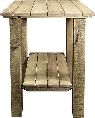 Amazon.com: Mesa auxiliar de madera de mango Maceta cuadrada ...