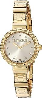 ROBERTO CAVALLI Women's Diamond Scala Swiss Quartz Watch with Gold Tone Strap, 10 (Model: RV2L023M0076)