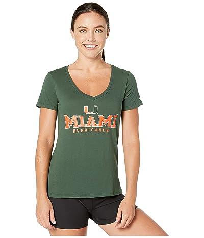 Champion College Miami Hurricanes University V-Neck Tee (Dark Green 2) Women