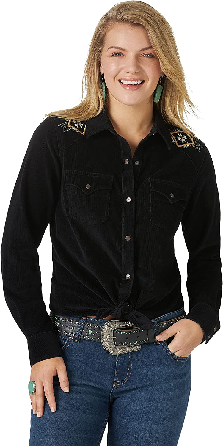 Vintage Western Wear Clothing, Outfit Ideas Wrangler Womens Retro Long Sleeve Western Snap Shirt  AT vintagedancer.com