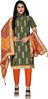 Maroosh Women'S Cotton Fabric Green Color Chudidar Free Size Dress Material