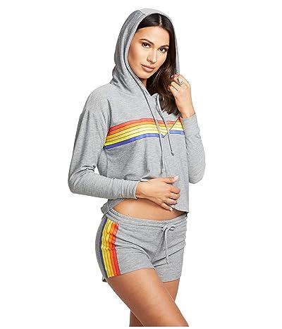 Chaser Retro Stripe Cozy Knit Cropped Hoodie (Heather Grey) Women
