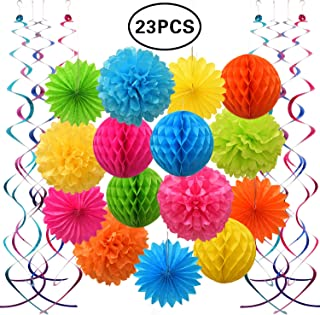 SZBAIDEKJ Colorful Paper Party Decorations, Tissue Paper Flower&Party Pom Poms wth Swirl Streamers, Premium Material with Vivid Colors, Hanging Décor for Birthday/Wedding/Bridal Shower/Bachelorette