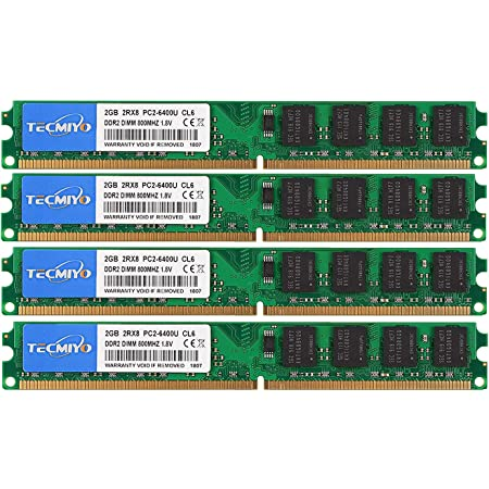 TECMIYO DDR2 Ram 8GB Kit (4X2GB), DDR2 800 PC2-6400 240-Pin Dimm Desktop Memory Ram Modules