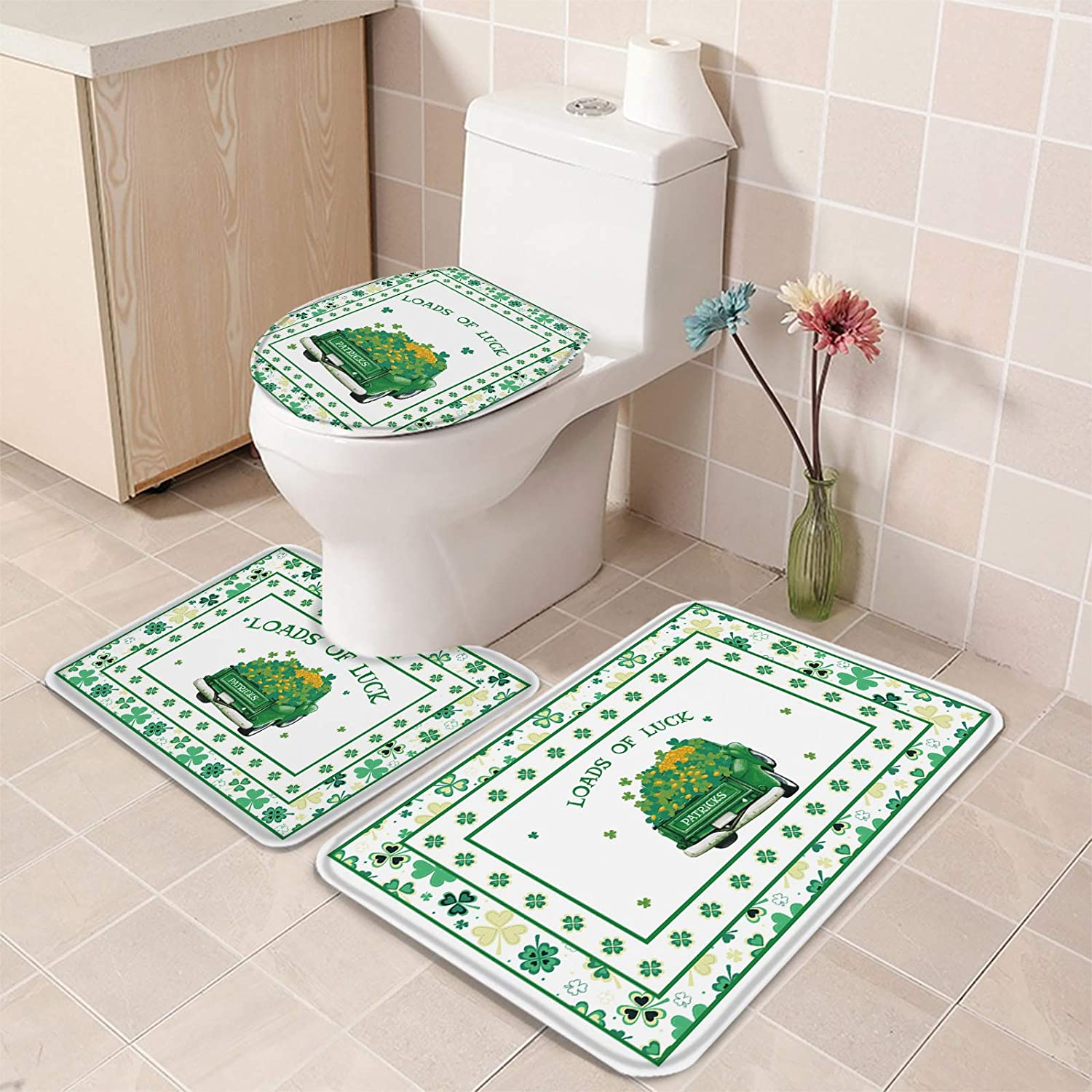 3 Piece Bathroom Rug Set St. Patrick's Day with Green Car Max Max 56% OFF 83% OFF Clover