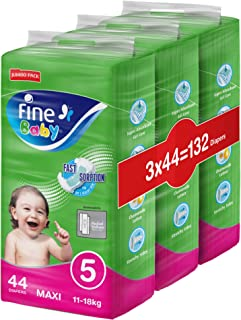 Fine Baby Diapers, DoubleLock Technology , Size 5, Maxi 11–18kg, Jumbo Pack. Value bundle pack, 132 diaper count