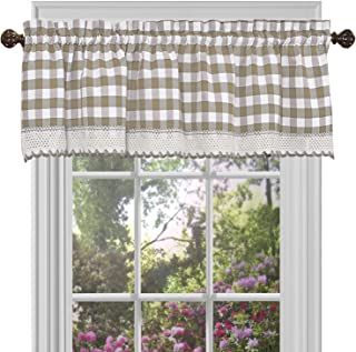 GoodGram Buffalo Check Plaid Gingham Custom Fit Farmhouse Window Valances - Assorted Colors (Taupe)