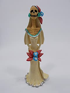 BRIDE CATRINA handmade clay figurine day of the dead mexican folk art 10