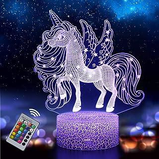 Unicornio 3D Luz Nocturna para Niños, LED USB Luces Nocturnas Ilusión Lámpara de mesa táctil Luces con Control Remoto para la Decoración del Partido Presentes de cumpleaño(unicornio2)