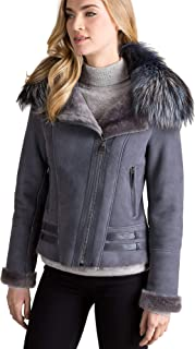 Milan Spanish Merino Sheepskin Bomber Jacket with Detachable Fox Fur Collar