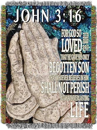 Religious,  John 3:16 Woven Tapestry Throw Blanket,  48 x 60,  Multi Color