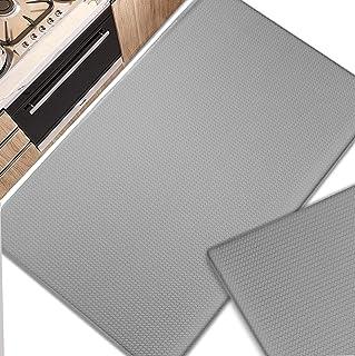 SONGZIMING 2 Piece Kitchen Mat Anti Fatigue, 2/5Inch Waterproof Cushioned Standing Mat Non Skid Comfort Kitchen Floor Mat ...