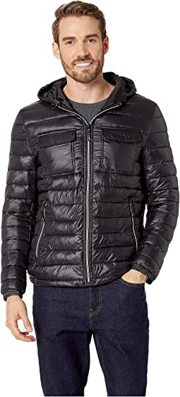Double Chest Pocket Puffer with Hood Jacket