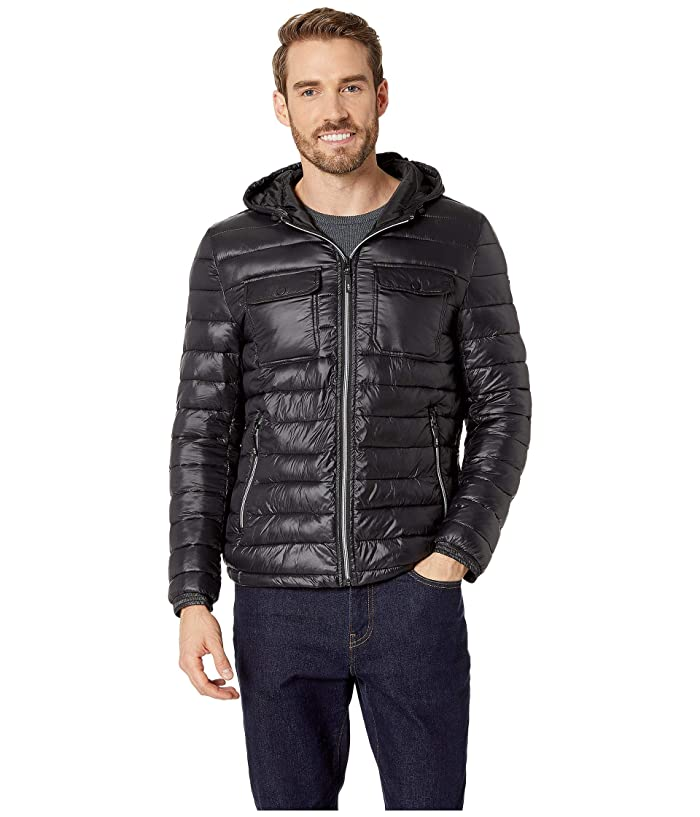 Kenneth Cole New York Double Chest Pocket Puffer with Hood Jacket