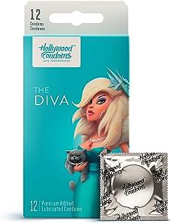 Hollywood Condoms Love Performance The Diva Premium, Natural Latex Lubricated Condom for Men, Women, 12 Condoms