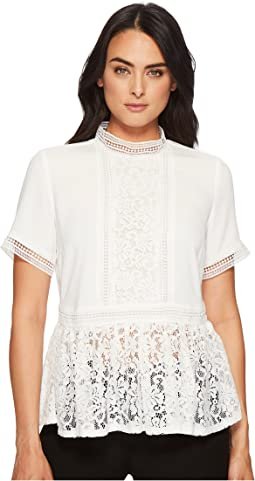 Francine Short Sleeve High Neck Lace Inset Blouse