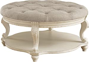 Signature Design by Ashley Realyn Ottoman Cocktail Table, White/Brown