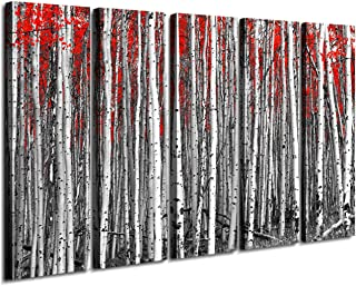Extra Large Wall Art Red Forest Trees Leaves Black and White Canvas Prints Oil Painting Picture Home Decor Frame Printing Natural Scenery Landscape Modern Artwork Decorations 5 Panel 60 Inch Total