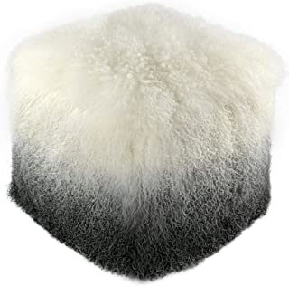 "TOV Furniture Modern Tibetan Sheep Fur Living Room Ottoman, 17.7"", White, Grey"