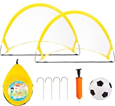 NEOWEEK Soccer Goals for Kids Age 2-6 Years Old, Toddler Soccer Set with 2 Pop Up Collapsible Portable Soccer Nets and 1 S...