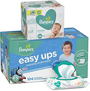 Pampers Bundle - Easy Ups Training Underwear Pull On Disposable Diapers for Boys, Size 6 (4T-5T), 104 Count, ONE MONTH SUPPLY with Baby Wipes Sensitive 6X Pop-Top Packs, 336 Count