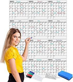 "Scribbledo Jumbo Dry Erase Yearly Calendar 36"" x 48"" 12 Month Reusable Wall Planner Includes 4 Markers 1 Eraser and Mounti..."