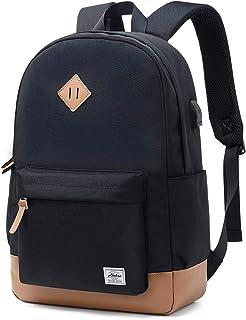 Classical Basic Womens Travel Backpack For College Men Water Resistant Laptop School Bookbag (USB Black)