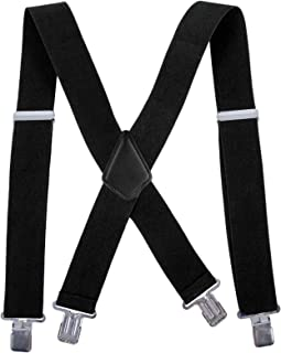 Men Utility Suspenders Adjustable Elastic - Heavy Duty 2 Inch Wide X Shape Strong Clip Suspender (Black)