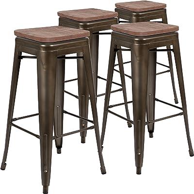 "Flash Furniture 30"" High Metal Indoor Bar Stool with Wood Seat in Gun Metal Gray - Stackable Set of 4"