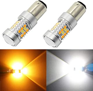 Alla Lighting 1157 2357A BAY15D LED Switchback Bulb Dual Color White/Amber Yellow Extremely Super Bright High Power 2835 28-SMD LED Turn Signal Light Lamp Replacement