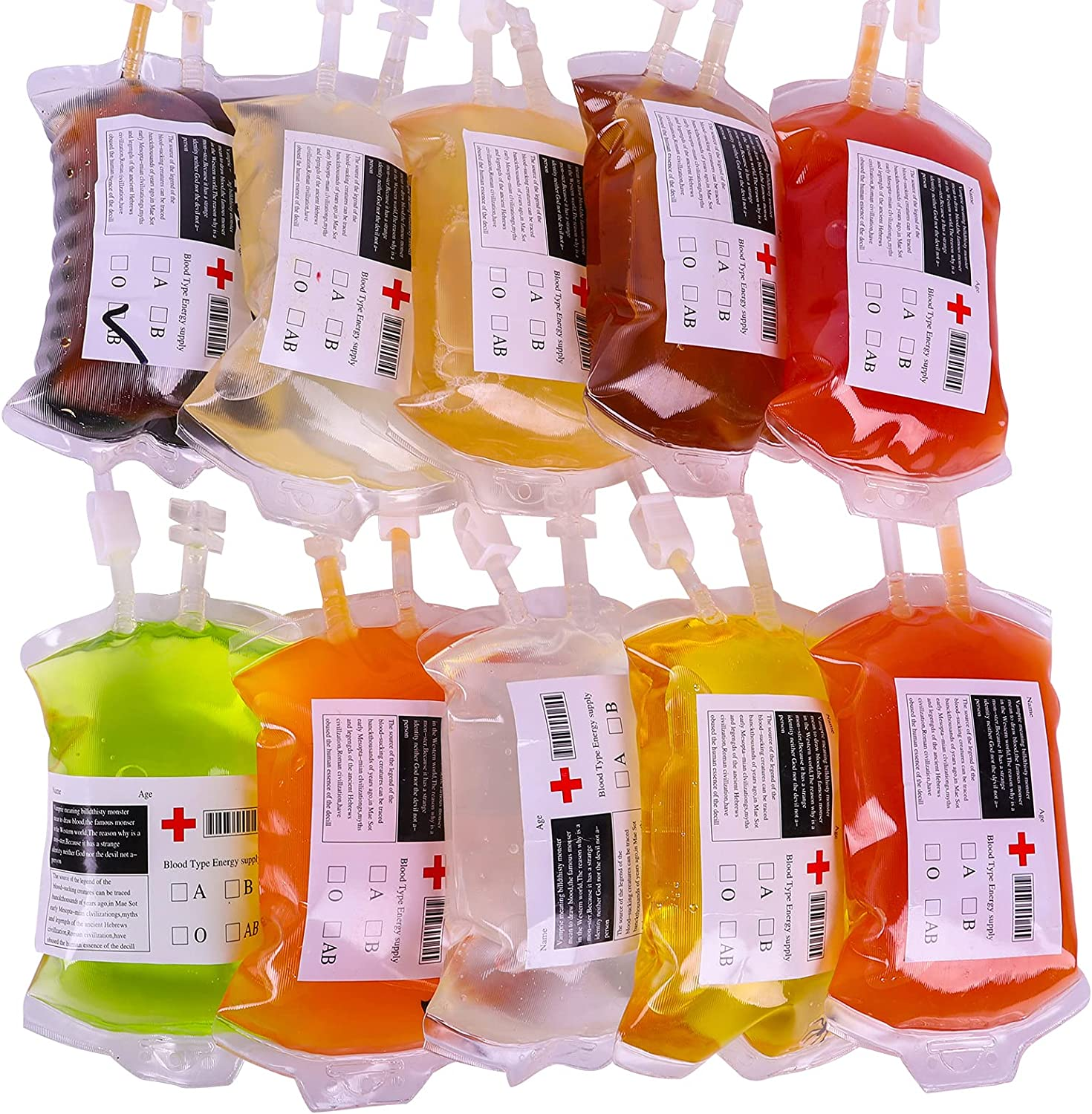 Blood Bag IV Bags Drink Cups - Set of 10 Blood Bags for Drink, 13.5 FL Oz 400ml with 1 funnel 10 Labels and 10 Clips, Halloween/Vampire/Zombie/Nurse Graduation/Hospital Theme Party Favors