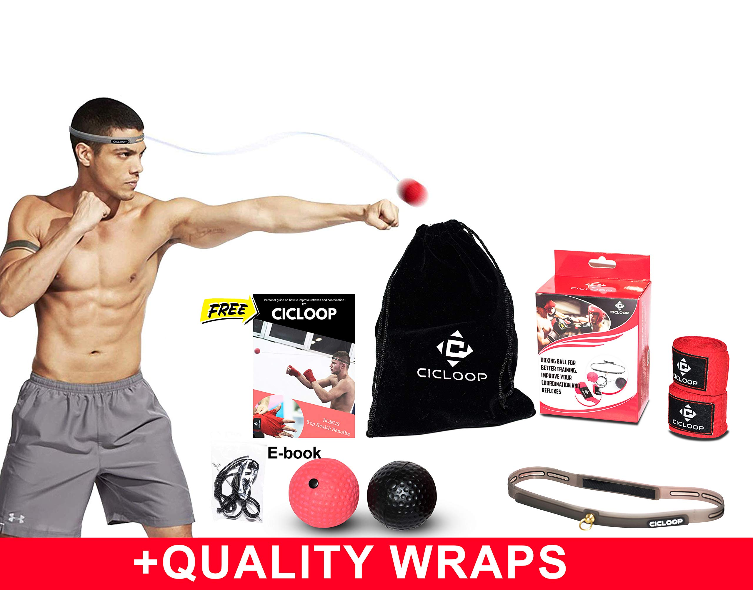 2 Punching Ball Headband For Reflex /& Strength Training,Hand Wraps Carryin Bag