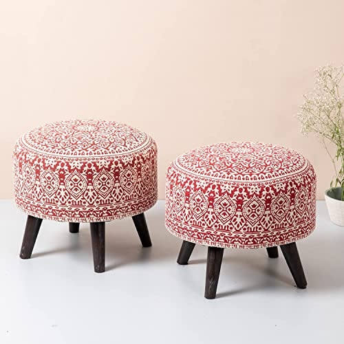 nestroots stool for living room sitting printed standard ottoman upholstered foam cushioned pouffe puffy for foot res...