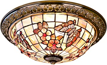 Tiffany Style Butterfly Ceiling Lights Pastoral Flower Flush Mount Ceiling Lamp Natural Shell Art Ceiling Lighting Fixture...